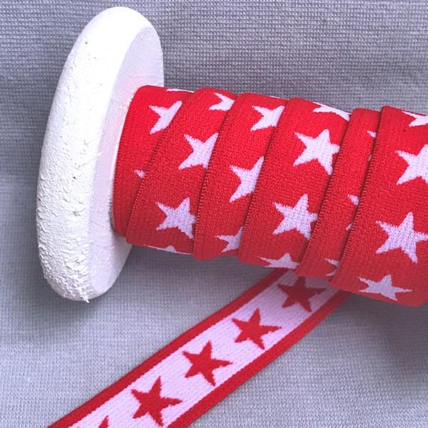 Gummiband Sterne, 2cm, rot
